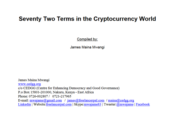 Seventy-Plus Terms in Cryptocurrency World