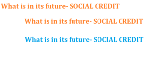 What is in its future- SOCIAL CREDIT